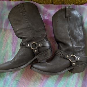 Shoes - black leather motorcycle boots